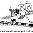 Cartoon illustration. Men riding on the golf course — Stock Photo