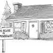 Cartoon illustration. Frightened home owners have a defenseless sign on the yard — Zdjęcie stockowe