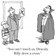 Cartoon illustration.  Dracula stopped by cross — Stock Photo