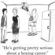 Cartoon illustration. Boxer trains hit — Photo