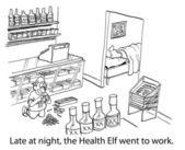 Zdrowotnych elf udał się do pracy — Zdjęcie stockowe
