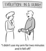 L'evoluzione è in fretta e il marito dice alla moglie — Zdjęcie stockowe