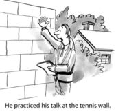 Work near the tennis wall — Stock Photo