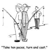 Cartoon illustration. Men fishing. Take ten paces, turn and cast. — Stock Photo