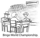 Cartoon illustration. People play in the world championship bingo — Stock Photo
