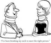 Cartoon illustration Man and woman with neck braces meet — Stock Photo