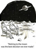 Cartoon illustration. Man and woman sitting on the moon — Stock Photo
