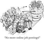 Cartoon illustration. Worried boss is besieged by army of applicants — Stock Photo