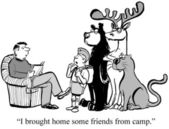 Cartoon illustration. Child invited friends from camp — Stock Photo