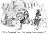 Cartoon illustration. Prehistoric Easter — Stock Photo