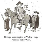 Cartoon illustration. Historical figure, George Washington, has a valley girl riding his horse with him at Valley Forge — Stock Photo