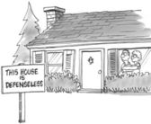 Cartoon illustration. Frightened home owners have a defenseless sign on the yard — Stock Photo