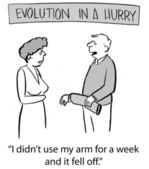 Evolution is in a hurry and husband says to wife — Stock Photo