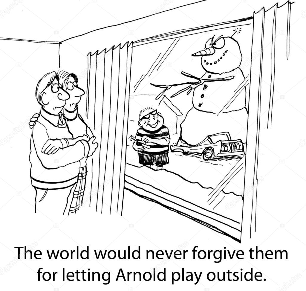 arnolds parents should never have let him play outside out arnold s parents should never have let him play outside out supervision stock image