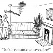 Couple looking at the fireplace. Cartoon illustration — Stock Photo
