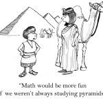 Boy and woman near Egyptian pyramids. Cartoon illustration — Stock Photo