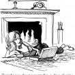 Cartoon illustration. Woman is lying near the fireplace eating candy and drinking wine — Lizenzfreies Foto