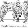 Cartoon illustration. Military garb at bar — ストック写真