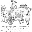 Stock Photo: Cartoon illustration. Greek customer needs packages delivered to ancient sites