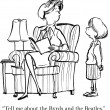Cartoon illustration. А little girl asked her mother — Lizenzfreies Foto