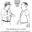Cartoon illustration. Basketball coach chooses tactics — Stock Photo
