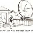 Cartoon illustration. Woman and man found a large antenna in the yard — Stock Photo