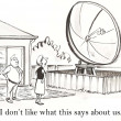 Cartoon illustration. Woman and man found a large antenna in the yard — Stock Photo #32610547