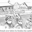 Cartoon illustration. Ancient warriors want to attack the house — Stok fotoğraf