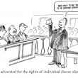 Cartoon illustration. Lawyer shows evidence in the courtroom — Stock Photo