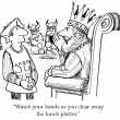 Cartoon illustration. King is careful not to upset the Vikings — Stock Photo