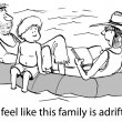 Cartoon illustration. Family tries to stay passive while adrift — Stock Photo