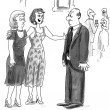 Cartoon illustration. Woman of a certain age — Stok fotoğraf