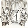 Foto Stock: Cartoon illustration. Hunter drum