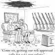 Cartoon illustration. Come on, getting our refi approvd clls for a 21 gun salute — Stockfoto