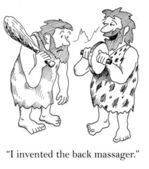 Cavemen invented back massager. Cartoon illustration — Stock Photo