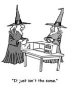 Two witches potion heated in the microwave. Cartoon illustration — Stock Photo