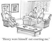 Women talk about a man. Cartoon illustration — Stok fotoğraf