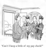 Police officers seize property. Cartoon illustration — Stock Photo