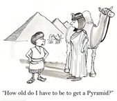 Boy and woman near Egyptian pyramids. Cartoon illustration — Foto de Stock