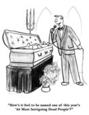 Man sings at the funeral. Cartoon illustration — Stock Photo
