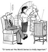 Man looks competition on TV. Cartoon illustration — Stock Photo