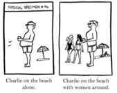 Charlie on the beach with women around. Cartoon illustration — Stock Photo
