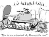Cartoon illustration. Soldier in the tank — Stock Photo