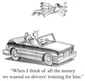Cartoon illustration. Now that he can fly he'll want to drive — Foto Stock