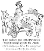 Cartoon illustration. Greek customer needs packages delivered to ancient sites — Stock Photo