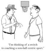 Ilustracja kreskówka. trener koszykówki wybiera taktyki — Zdjęcie stockowe