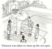 Cartoon illustration. Timeout was taken to clean up the wet spot — Stock Photo
