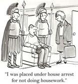 Cartoon illustration. House arrest — Stock Photo