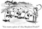 Cartoon illustration.Armed sheep — Stock Photo