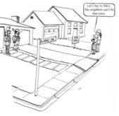 Cartoon illustration.Alamo neighbors can be crazy — Stock Photo